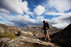 Hike in Norway. Mountains Stock Photography