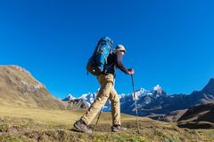 Hike in Peru. Hiking scene in Cordillera mountains, Peru Royalty Free Stock Photo