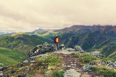 Hike in polar tundra Stock Photos