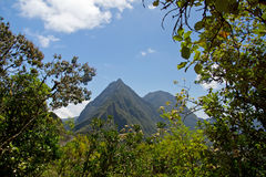 Hike in Reunion. Mountain View of the Cirque de Mafate Stock Photos