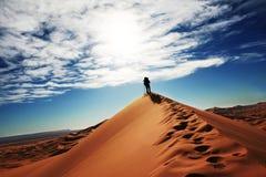 Hike in Sahara desert Stock Photos