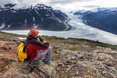 Hike in Salmon glacier Royalty Free Stock Photo