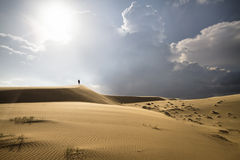 Hike in sand desert Royalty Free Stock Photography