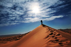 Hike in sand desert Stock Photo