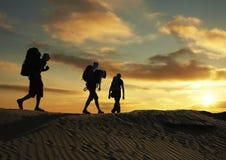 Hike on sunset Stock Photos