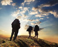 Hike on sunset. Hikers go up on sunset Royalty Free Stock Photography