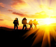 Hike on sunset Stock Photography