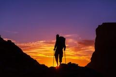 Hike on sunset Stock Image