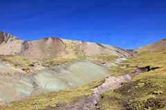 On the hike to Rainbow mountain Peru Royalty Free Stock Image