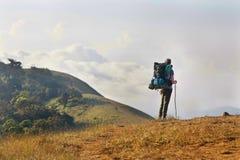 Hike trekking mountain Stock Photo