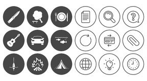 Hike trip, camping icons. Fishing, tourist tent. Stock Photos