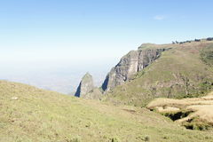 Hike trough mountain ridge in Simien mountains Stock Images