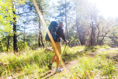 Hike in Turkey. Hiking in famous Lycian Way in the Turkey. Backpacker in the trail Royalty Free Stock Image