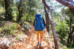 Hike in Turkey. Hiking in famous Lycian Way in the Turkey. Backpacker in the trail Royalty Free Stock Photography