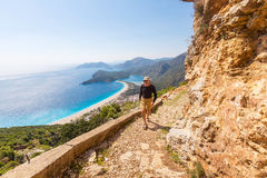 Hike in Turkey. Hiking in famous Lycian Way in the Turkey. Backpacker in the trail Stock Photo