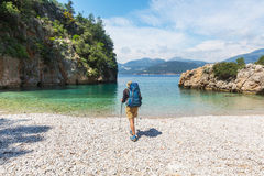 Hike in Turkey. Hiking in famous Lycian Way in the Turkey. Backpacker in the trail Stock Photography