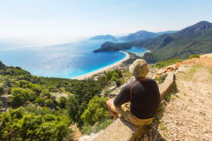 Hike in Turkey. Hiking in famous Lycian Way in the Turkey. Backpacker in the trail Royalty Free Stock Photos