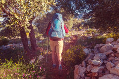 Hike in Turkey. Hiking in famous Lycian Way in the Turkey. Backpacker in the trail Stock Image