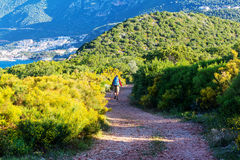 Hike in Turkey. Hiking in famous Lycian Way in the Turkey. Backpacker in the trail Stock Photos