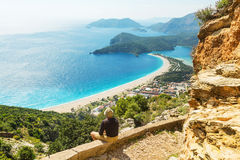Hike in Turkey. Hiking in famous Lycian Way in the Turkey. Backpacker in the trail Royalty Free Stock Photo