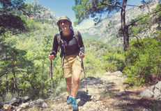 Hike in Turkey. Hiking in famous Lycian Way in the Turkey. Backpacker in the trail Royalty Free Stock Images