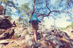 Hike in Turkey. Hiking in famous Lycian Way in the Turkey. Backpacker in the trail Stock Images