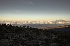 Hike up Mt. Kilimanjaro Tanzania royalty free stock image