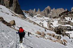 Hike up to  Mt. whitney. Climbers are getting close to Mt. Whitney in California Stock Photos