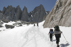 Hike up to  Mt. whitney. Climbers are getting close to Mt. Whitney in California Royalty Free Stock Image