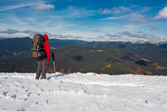Hike in winter mountain. stock image
