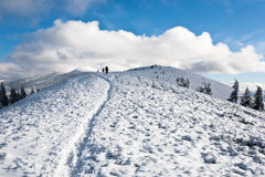 Hike in winter mountain. Royalty Free Stock Images