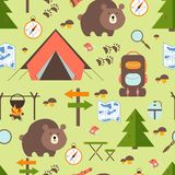 Hike in the woods seamless pattern Stock Images