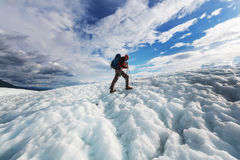 Hiker on glacier Royalty Free Stock Image