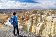Hiker восхищая взгляды образований песчаника каньона угольной шахты, Аризоны Стоковые Изображения RF