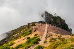 Hiker восхищая Pico делает Arierio, Ruivo, Мадейру, Португалию, Европу Стоковые Фотографии RF