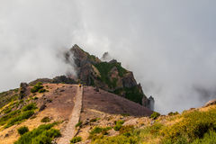 Hiker восхищая Pico делает Arierio, Ruivo, Мадейру, Португалию, Европу Стоковое Фото