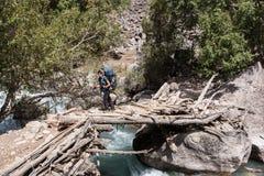 Hiker в высоких горах стоковое фото