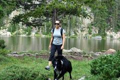 Hiker в горах Стоковые Фото