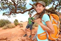 Hiker в гранд-каньоне Стоковое Изображение