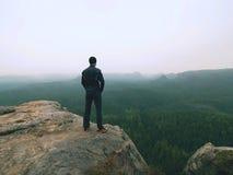 Hiker в стойке sportswear на пике утеса песчаника в империях утеса паркует и наблюдающ над vallley Стоковые Фотографии RF