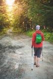 Hiker женщины идя в представление задней части леса туризм голубой карты dublin принципиальной схемы города автомобиля малый Стоковые Изображения