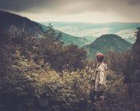 Hiker женщины идя в лес горы Стоковое Фото