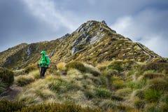 Hiker женщины идя на высокогорный раздел следа Kepler Стоковые Фото