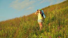 Hiker женщины на холме с рюкзаком за ей, смотрящ через бинокли видеоматериал