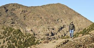 Hiker исследует область около самой высокой вершины ` s Аризоны Стоковое Фото
