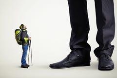 Hiker и большой босс Стоковые Изображения