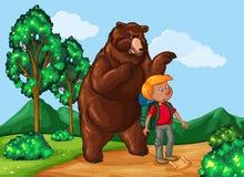Hiker и гризли в парке иллюстрация штока