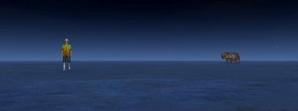 Hiker и носорог встречают в пустыне к ноча иллюстрация вектора