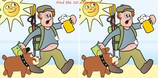 Hiker и разницы в dog-10 иллюстрация вектора