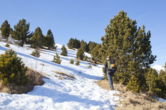 Hiker идя в снег Стоковые Фото